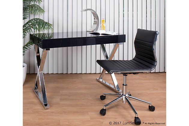 Gloss Finish Home Office Desk, Black, large