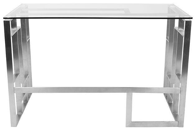 Glass Top Home Office Desk, , large