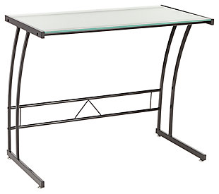 Glass Top Home Office Desk, Black/White, large
