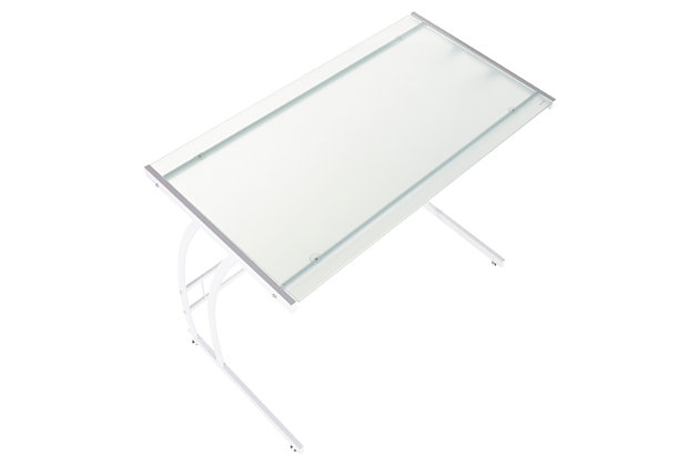 Glass Top Home Office Desk, White, large