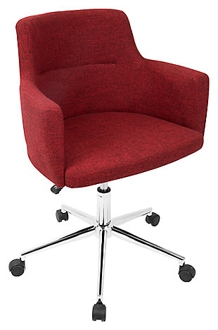 Upholstered Swivel Home Office Chair, , rollover