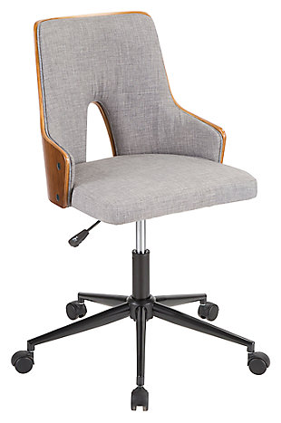 Upholstered Open Back Home Office Chair, , large