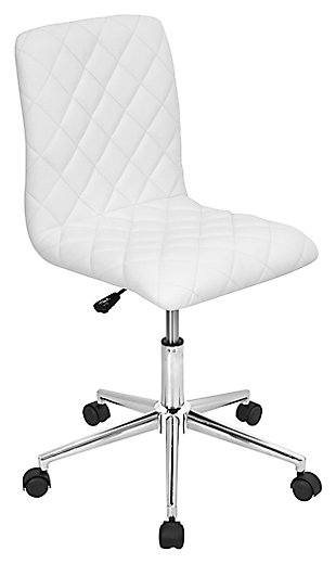 Quilted Swivel Home Office Chair, , large