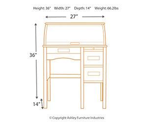 Jr. Roll-Top Desk - White, , large