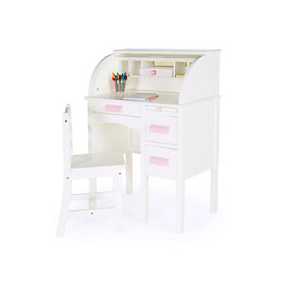 Jr. Roll-Top Desk - White, , rollover