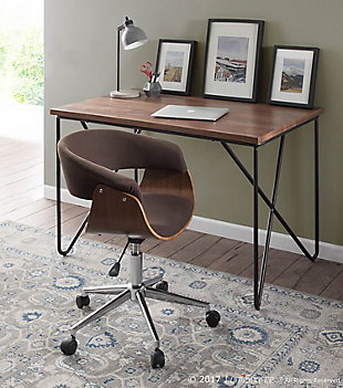 Upholstered Open Back Home Office Chair, , rollover