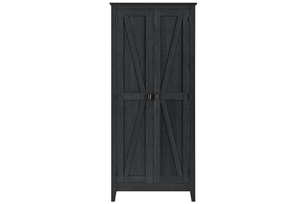 "Rustic 31.5"" Wide Storage Cabinet, Black, large"