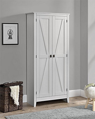 """Rustic 31.5"""" Wide Storage Cabinet, Ivory, rollover"""