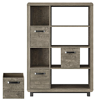 Four Shelf Bookcase with Bins, , large