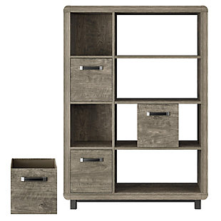 Four Shelf Bookcase with Bins, , rollover