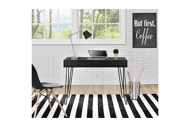 Retro Desk with Drawer, , large