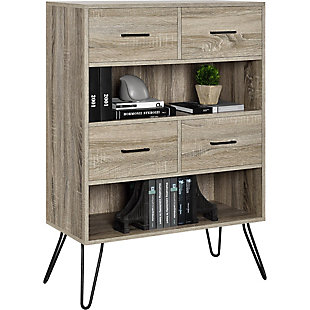 Retro Bookcase with Bins, , large