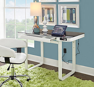 Adjustable Height Desk with USB Port and Speakers, , rollover
