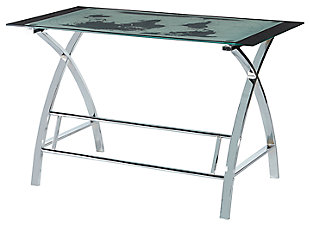 World Map Desk with Chrome Legs, , large