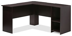Corner Home Office Desk with Bookshelf, , large