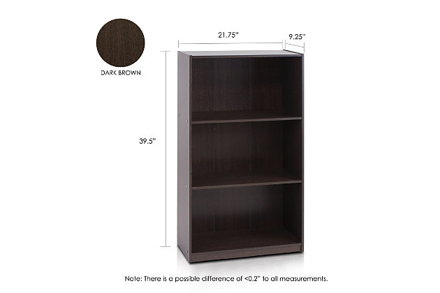 """Three Shelf 40"""" Home Office Bookcase, , large"""