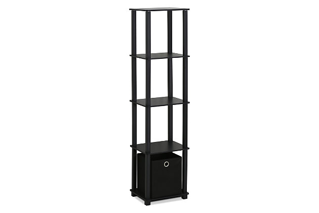 Five Shelf Home Office Bookcase with Bin, , large