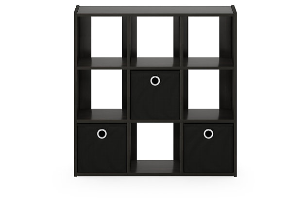 Cube Home Office Organizer Bookcase with Bins, , large