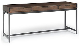 Industrial Metal Desk, Walnut Brown, large