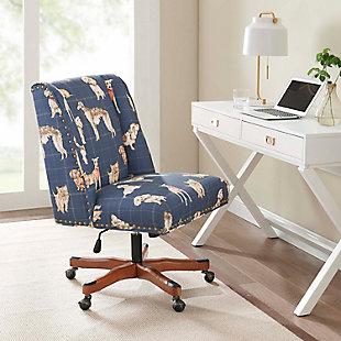 Linon Draper Upholstered Swivel Office Chair, Blue, rollover