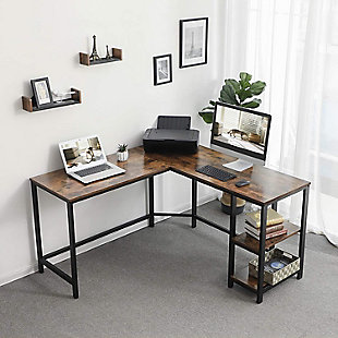 Vasagle Industrial L-Shaped Computer Desk, , rollover