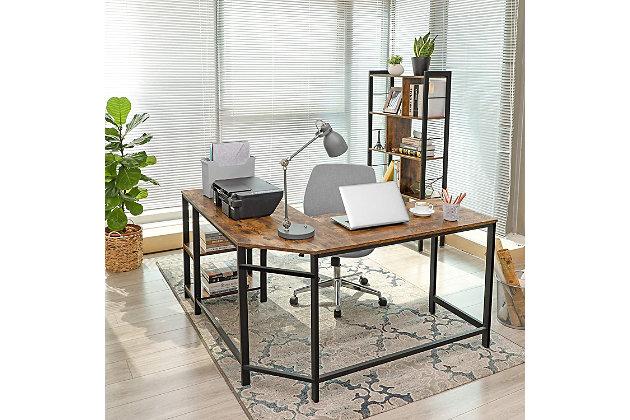 Vasagle Industrial L-Shaped Computer Desk, , large