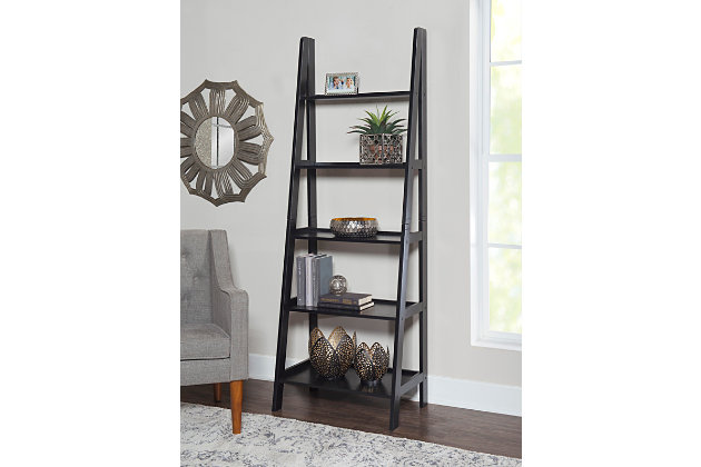 Linon Falan Ladder Bookshelf, Black, large