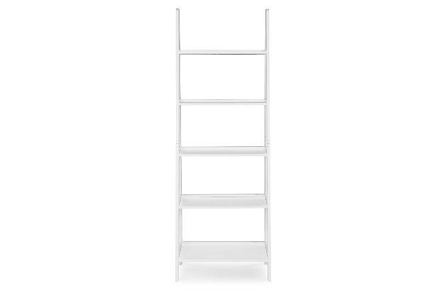 Linon Falan Ladder Bookshelf, White, large