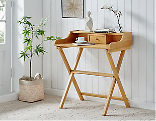 Linon Monroe Walnut Folding Desk, , rollover