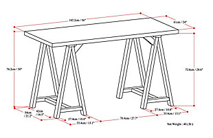 "Simpli Home Sawhorse Industrial 56"" Writing Desk, , large"
