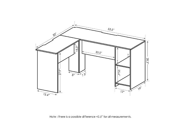 Indo L-Shaped Desk with Bookshelves, , large