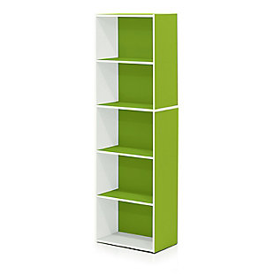 Luder 5-Tier Reversible Color Open Shelf Bookcase, , large