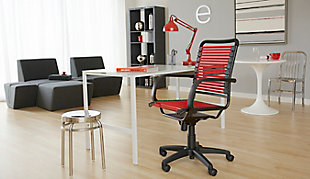 Euro Style Bungie Flat High Back Office Chair, Red, rollover