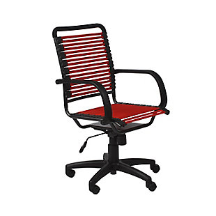 Euro Style Bungie Flat High Back Office Chair, Red, large