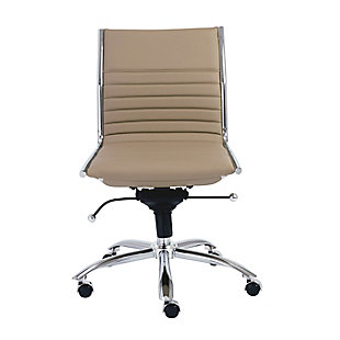 Euro Style Dirk Low Back Office Chair, Taupe, rollover