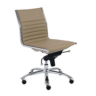 Euro Style Dirk Low Back Office Chair, Taupe, large