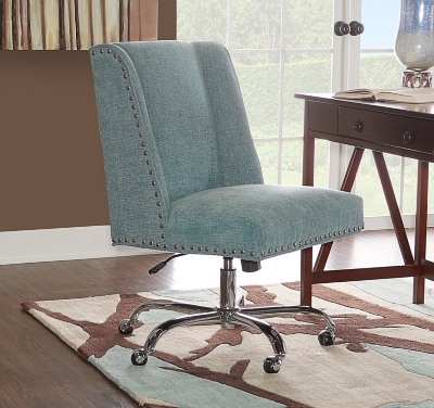 Ashley Linon Draper Office Chair, Blue