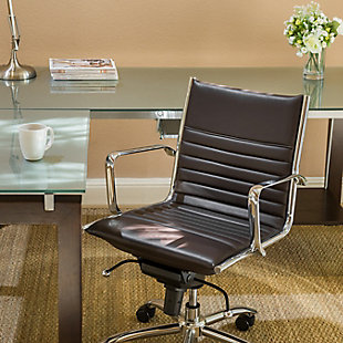 Euro Style Dirk Low Back Office Chair, Brown, rollover