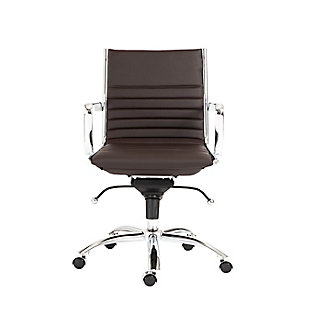 Euro Style Dirk Low Back Office Chair, Brown, large