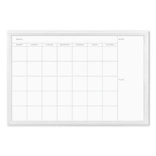 """U Brands 30"""" x 20"""" White Décor Framed Magnetic Dry Erase Calendar, , large"""