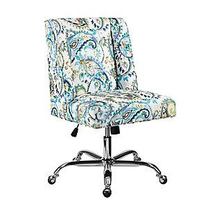 Linon Draper Upholstered Swivel Office Chair, Blue, large