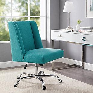 Linon Draper Upholstered Swivel Office Chair, , rollover