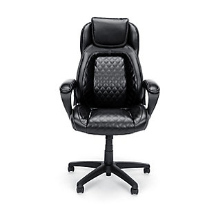 OFM Essentials Collection Racing Style SofThread Leather High Back Office Chair, Black, rollover