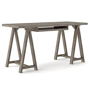 "Simpli Home Sawhorse Solid Wood Modern Industrial 60"" Writing Desk, , large"