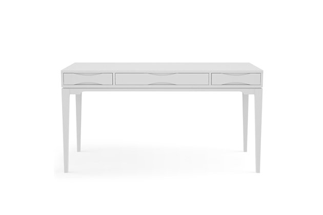 "Simpli Home Harper Solid Hardwood Mid Century Modern 60"" Desk, White, large"