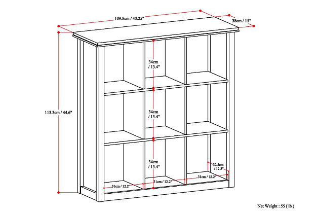 Simpli Home Artisan Contemporary 9 Cube Bookcase and Storage Unit, , large