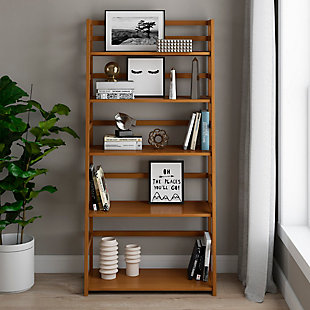 Simpli Home Acadian Rustic Ladder Shelf Bookcase, , rollover