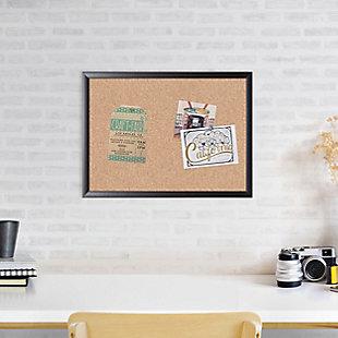 """U Brands 23"""" x 17"""" Black Framed Cork Bulletin Board, , rollover"""
