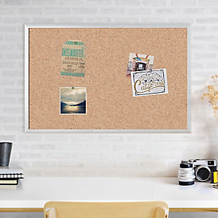 "U Brands 35"" x 23"" Silver Aluminum Framed Cork Bulletin Board, , rollover"