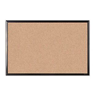"U Brands 35"" x 23"" Black Aluminum Framed Cork Bulletin Board, , large"